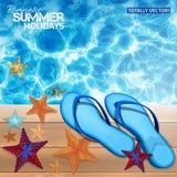 Fondo del verano con balanceos azules Imagenes de archivo