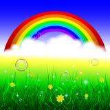 Fondo del verano con el arco iris y la hierba Fotos de archivo