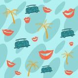 Fondo del verano con las palmeras, el autobús y los labios stock de ilustración