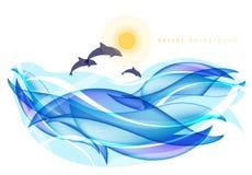 Fondo del verano con los delfínes ilustración del vector