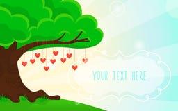 Fondo del verano Corazones en el árbol libre illustration