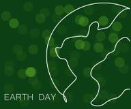 Fondo del verde del concepto del Día de la Tierra, mapa del mundo, ejemplo del vector