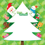 Fondo del verde de Santa Claus And Christmas Tree On Imagen de archivo
