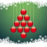 Fondo del verde del copo de nieve del árbol de las bolas de la Navidad Imagenes de archivo