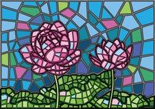 Fondo del vetro macchiato del fiore di Lotus illustrazione di stock