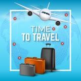 Fondo del viaje con el aeroplano y las maletas Diseño del aviador de la bandera del World Travel Concepto de las vacaciones Fotos de archivo libres de regalías