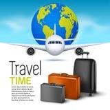 Fondo del viaje con el aeroplano y las maletas Diseño del aviador de la bandera del World Travel Concepto de las vacaciones Imágenes de archivo libres de regalías