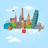 Fondo del viaje y del turismo Ilustración del vector Fotografía de archivo libre de regalías
