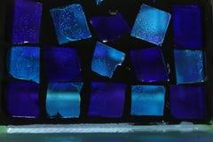 Fondo del vidrio azul Fotografía de archivo