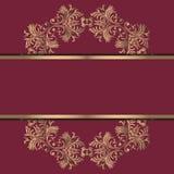 Fondo del vintage, antigüedad, ornamento del oro del victorian, marco barroco, papel viejo hermoso, tarjeta, página de cubierta a stock de ilustración