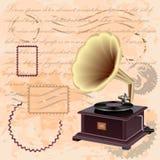 Fondo del vintage con el gramófono de la música Fotografía de archivo