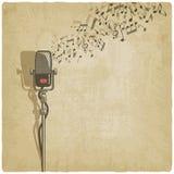 Fondo del vintage con el micrófono Fotografía de archivo