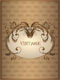 Fondo del vintage con el ornamento floral abstracto en el marco en tonos marrones Fotografía de archivo libre de regalías
