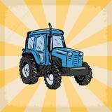 Fondo del vintage con el tractor Imagenes de archivo