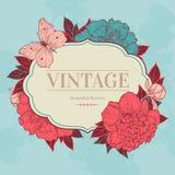 Fondo del vintage con la peonía y la mariposa Ilustración del Vector