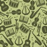 Fondo del vintage con los instrumentos de música ilustración del vector
