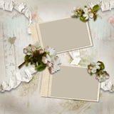 Fondo del vintage con los marcos y las flores Fotos de archivo libres de regalías
