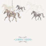 Fondo del vintage del invierno con los caballos ornamentales Imagenes de archivo