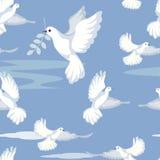 Fondo delicato senza cuciture La colomba, segno di pace, porta un ramoscello di oliva Nello stile minimalista Vettore piano del f illustrazione di stock