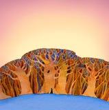 Fondo dell'acquerello con gli alberi stilizzati Immagini Stock Libere da Diritti