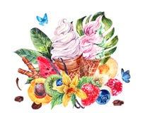 Fondo dell'acquerello con il gelato italiano molle Immagini Stock Libere da Diritti
