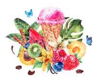 Fondo dell'acquerello con il gelato italiano molle Fotografia Stock Libera da Diritti