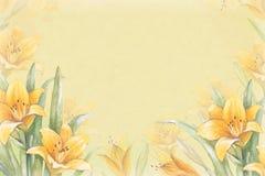 Fondo dell'acquerello con l'illustrazione del fiore del giglio Fotografia Stock