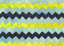 Fondo dell'acquerello con le bande di zigzag Fotografia Stock