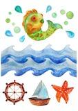 Fondo dell'acquerello del mare, illustrazione dell'acquerello con le onde, pesce e barca Immagine Stock