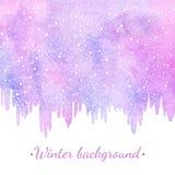 Fondo dell'acquerello del nuovo anno, di inverno con i ghiaccioli e neve illustrazione vettoriale