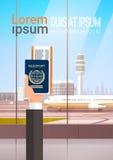 Fondo dell'aeroporto del documento di viaggio del passaggio di imbarco del biglietto del passaporto della tenuta della mano illustrazione vettoriale