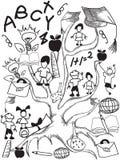 Fondo dell'albero della scuola di scarabocchio Immagini Stock