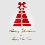 Fondo dell'albero di Natale con il nastro rosso Fotografia Stock Libera da Diritti