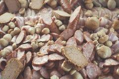 Fondo dell'alimento della carne, bacon, salsiccia, Fotografia Stock Libera da Diritti