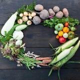 Fondo dell'alimento fresco di Veg, mercato sano Verdure organiche immagini stock libere da diritti