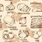 Fondo dell'alimento, ingredienti delle lasagne al forno royalty illustrazione gratis