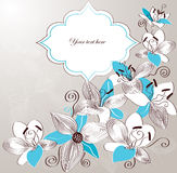 Fondo dell'annata con i fiori decorativi del giglio Fotografia Stock
