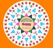 Fondo dell'arancia della cartolina d'auguri di compleanno Mele assortite caramella e vettore dei dolci illustrazione vettoriale