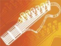 Fondo dell'arancia della testa motrice della chitarra Immagine Stock
