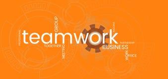 Fondo dell'arancia dell'insegna di lavoro di squadra di affari Parola CLOUD illustrazione di stock