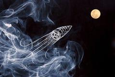 Fondo dell'astronave della luna di concetto di creatività Fotografie Stock Libere da Diritti