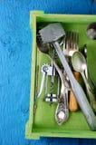 Fondo dell'attrezzatura dell'alimento della cucina Fotografie Stock