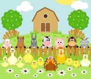 Fondo dell'azienda agricola con gli animali Fotografie Stock Libere da Diritti