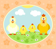 Fondo dell'azienda agricola con il pollo Fotografia Stock