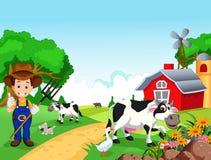 Fondo dell'azienda agricola con l'agricoltore e gli animali Fotografia Stock Libera da Diritti