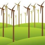 Fondo dell'energia rinnovabile del mulino di vento Fotografia Stock Libera da Diritti