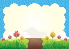 Fondo dell'erba e del fiore illustrazione vettoriale