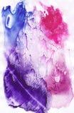 Fondo dell'estratto dell'acquerello, struttura dipinta a mano, macchie porpora e rosa dell'acquerello Progettazione per gli ambit illustrazione di stock