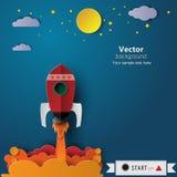 Fondo dell'estratto dell'icona del lancio di Rocket illustrazione, stile di carta di arte Fotografia Stock