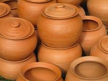 Fondo dell'estratto della ceramica delle terraglie dell'argilla rossa Fotografie Stock